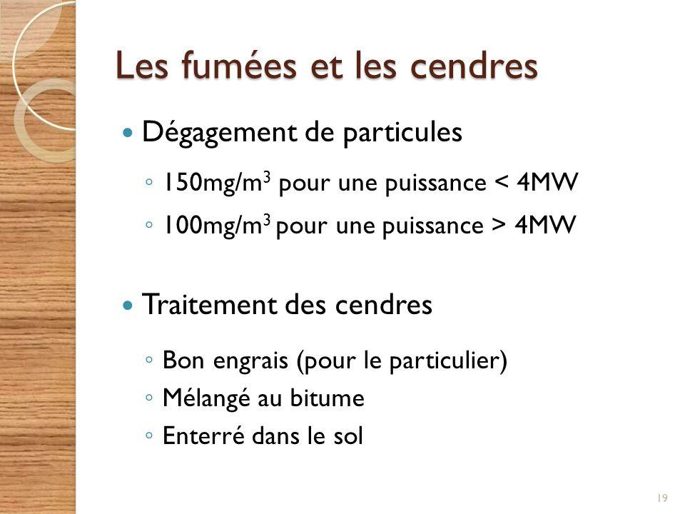 Les fumées et les cendres Dégagement de particules 150mg/m 3 pour une puissance < 4MW 100mg/m 3 pour une puissance > 4MW Traitement des cendres Bon en