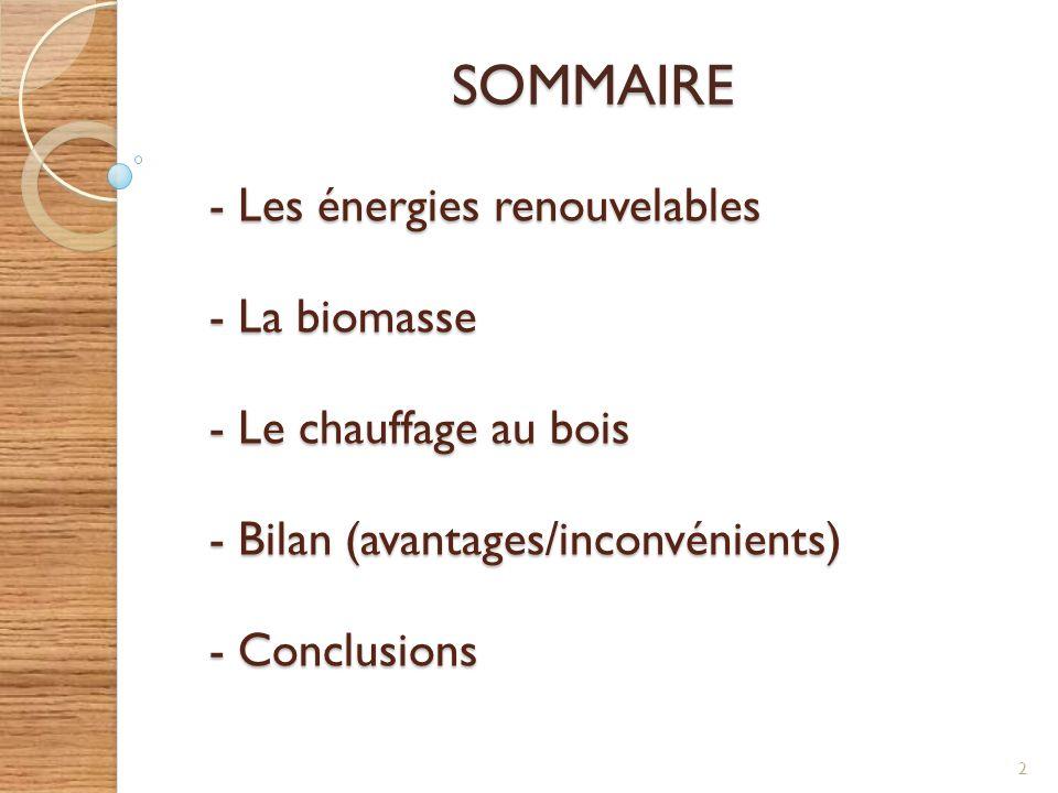 SOMMAIRE 2 - Les énergies renouvelables - La biomasse - Le chauffage au bois - Bilan (avantages/inconvénients) - Conclusions