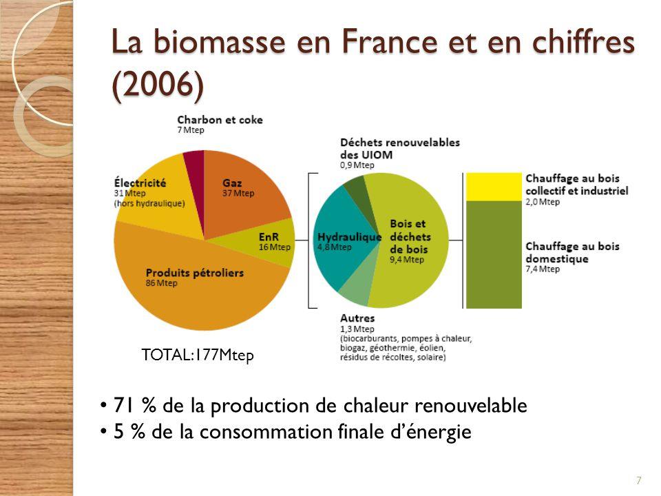 La biomasse en France et en chiffres (2006) 7 71 % de la production de chaleur renouvelable 5 % de la consommation finale dénergie TOTAL:177Mtep