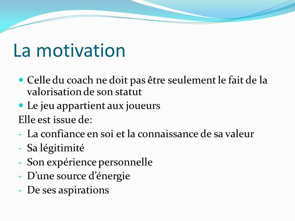 La motivation Celle du coach ne doit pas être seulement le fait de la valorisation de son statut Le jeu appartient aux joueurs Elle est issue de: - La confiance en soi et la connaissance de sa valeur - Sa légitimité - Son expérience personnelle - Dune source dénergie - De ses aspirations
