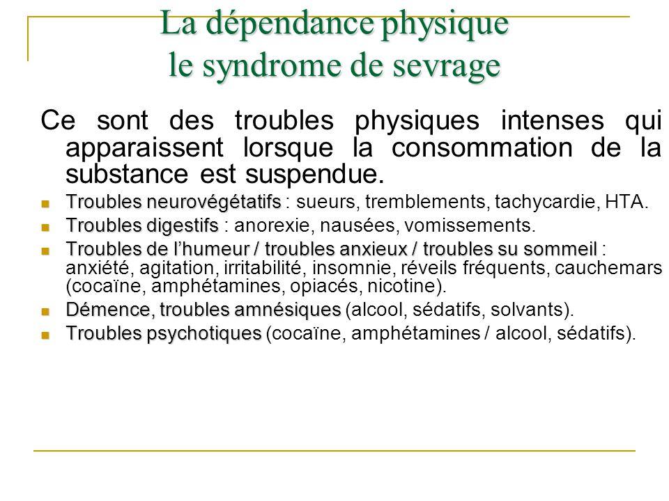 Ce sont des troubles physiques intenses qui apparaissent lorsque la consommation de la substance est suspendue. Troubles neurovégétatifs Troubles neur