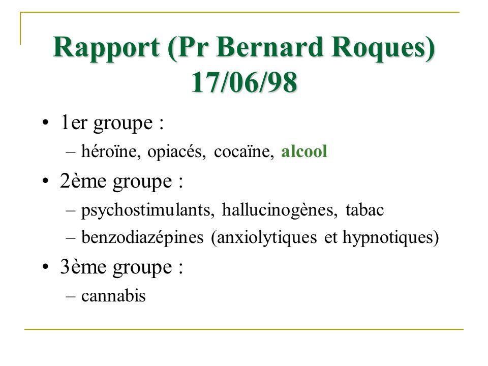Rapport (Pr Bernard Roques) 17/06/98 1er groupe : –héroïne, opiacés, cocaïne, alcool 2ème groupe : –psychostimulants, hallucinogènes, tabac –benzodiaz