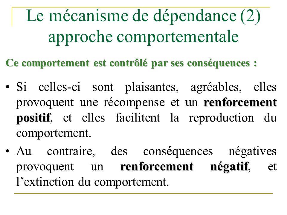 Le mécanisme de dépendance (2) approche comportementale renforcement positifSi celles-ci sont plaisantes, agréables, elles provoquent une récompense e