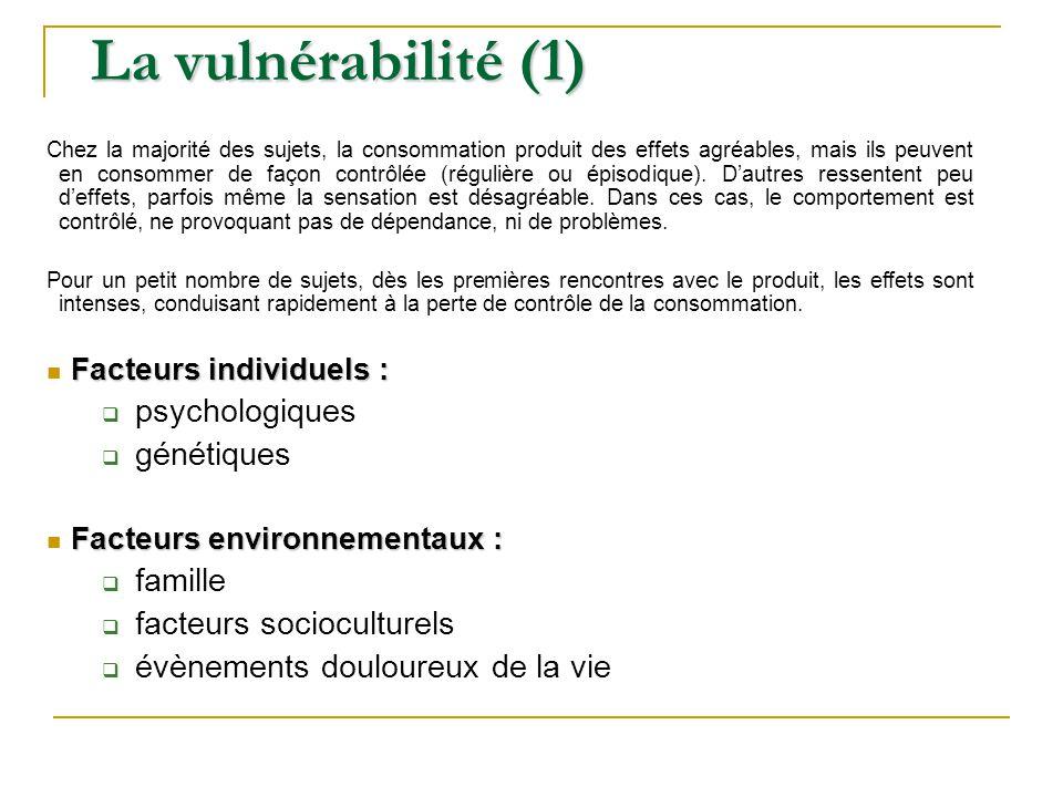 La vulnérabilité (1) Chez la majorité des sujets, la consommation produit des effets agréables, mais ils peuvent en consommer de façon contrôlée (régu