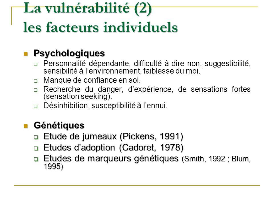Psychologiques Psychologiques Personnalité dépendante, difficulté à dire non, suggestibilité, sensibilité à lenvironnement, faiblesse du moi. Manque d