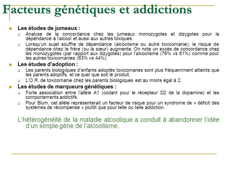 Facteurs génétiques et addictions Les études de jumeaux : Les études de jumeaux : Analyse de la concordance chez les jumeaux monozygotes et dizygotes