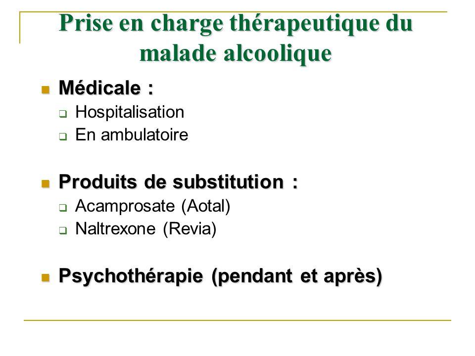 Médicale : Médicale : Hospitalisation En ambulatoire Produits de substitution : Produits de substitution : Acamprosate (Aotal) Naltrexone (Revia) Psyc
