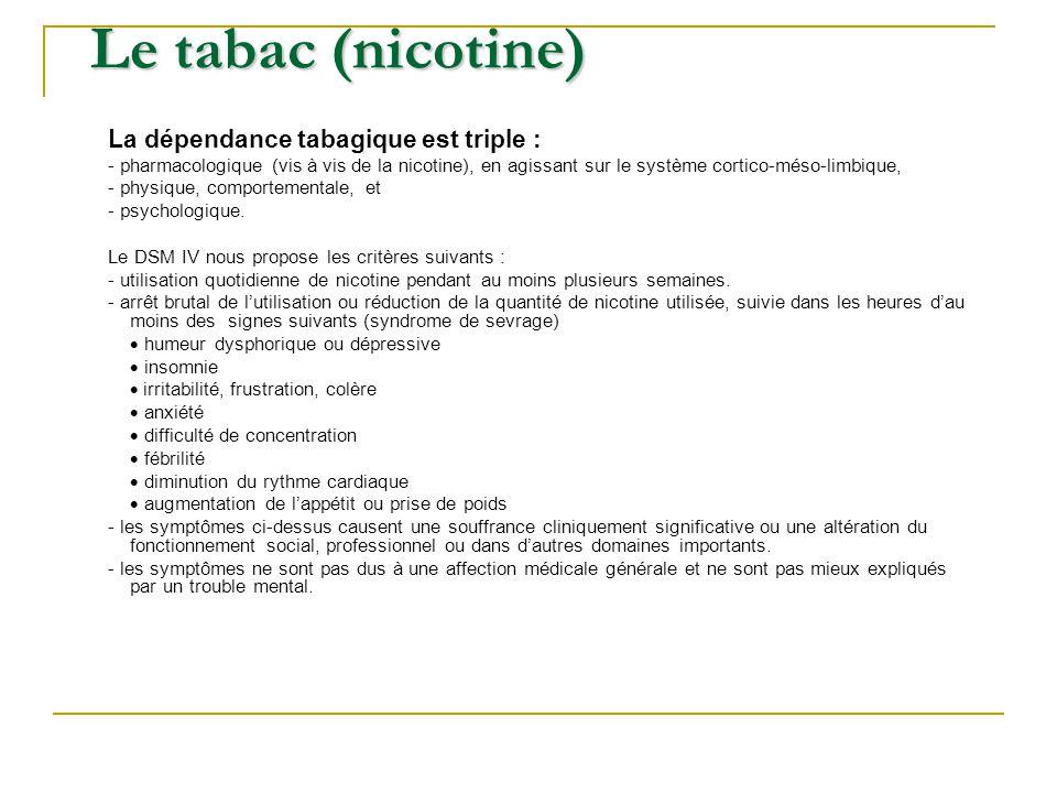 La dépendance tabagique est triple : - pharmacologique (vis à vis de la nicotine), en agissant sur le système cortico-méso-limbique, - physique, compo