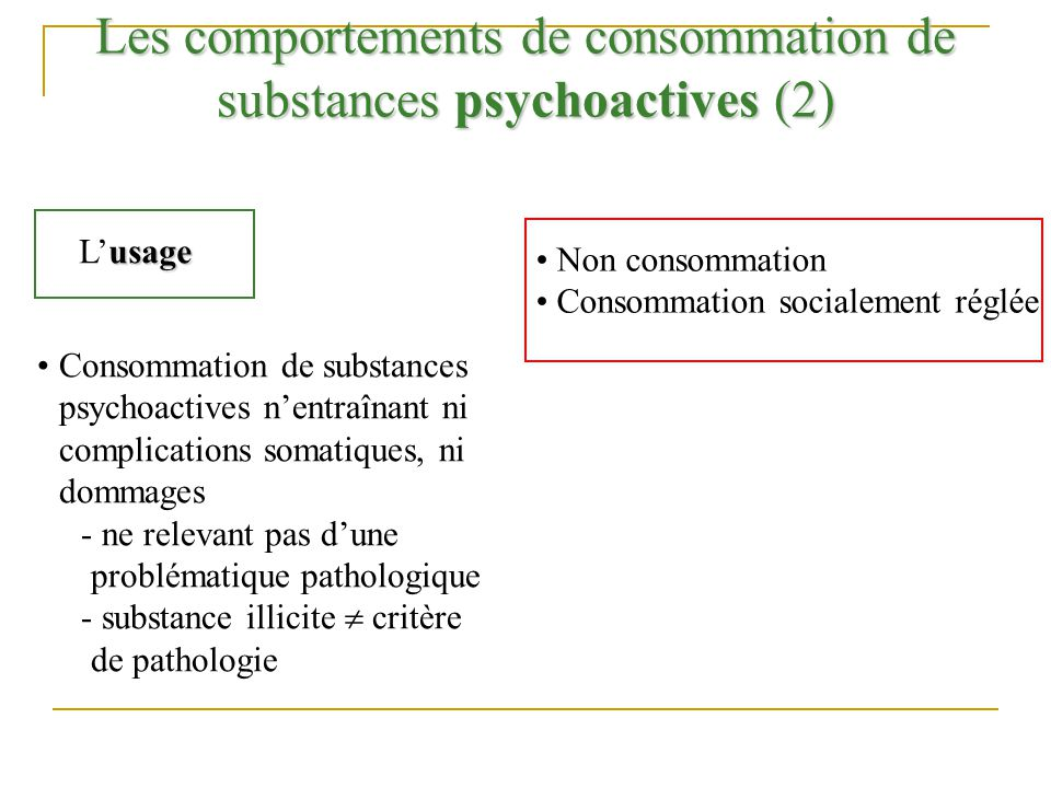 Les comportements de consommation de substances psychoactives (2) usage Lusage Consommation de substances psychoactives nentraînant ni complications s
