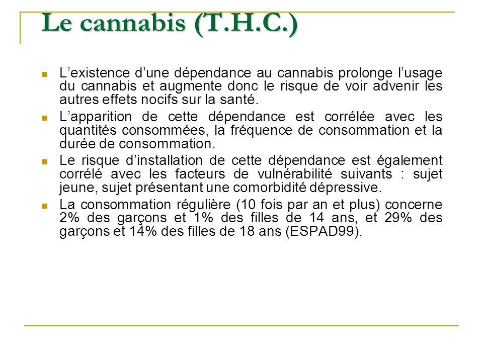 Lexistence dune dépendance au cannabis prolonge lusage du cannabis et augmente donc le risque de voir advenir les autres effets nocifs sur la santé. L