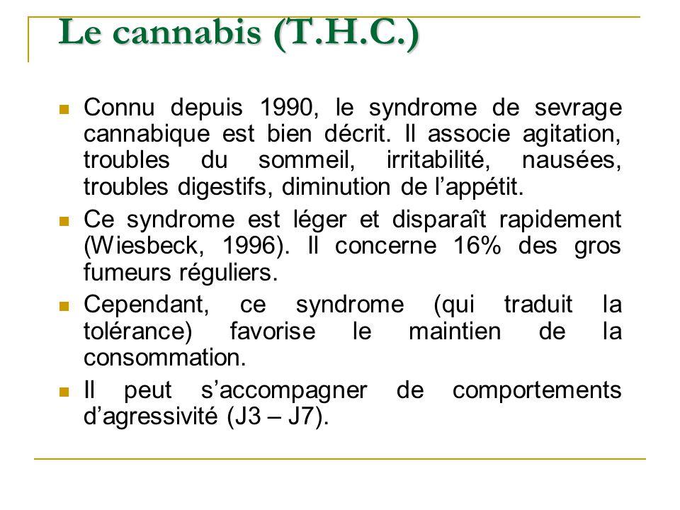 Connu depuis 1990, le syndrome de sevrage cannabique est bien décrit. Il associe agitation, troubles du sommeil, irritabilité, nausées, troubles diges