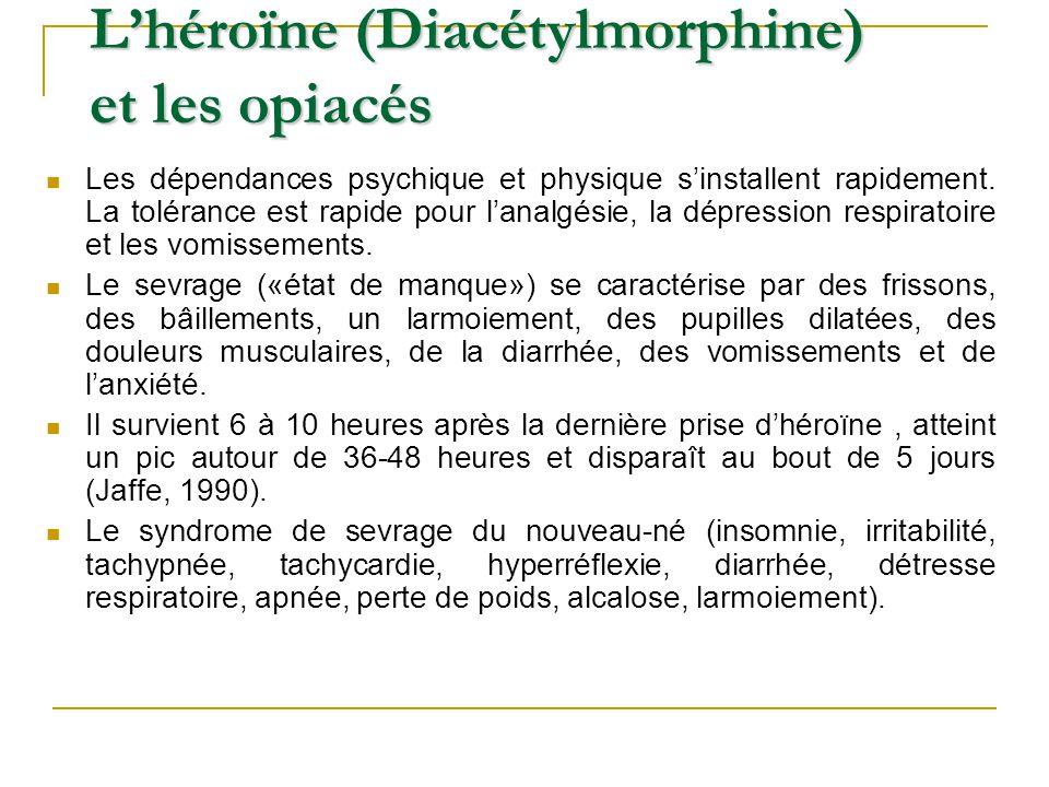 Les dépendances psychique et physique sinstallent rapidement. La tolérance est rapide pour lanalgésie, la dépression respiratoire et les vomissements.