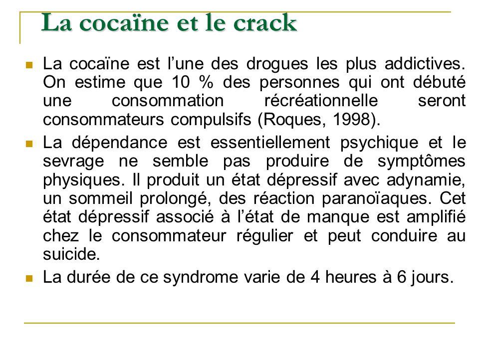 La cocaïne est lune des drogues les plus addictives. On estime que 10 % des personnes qui ont débuté une consommation récréationnelle seront consommat