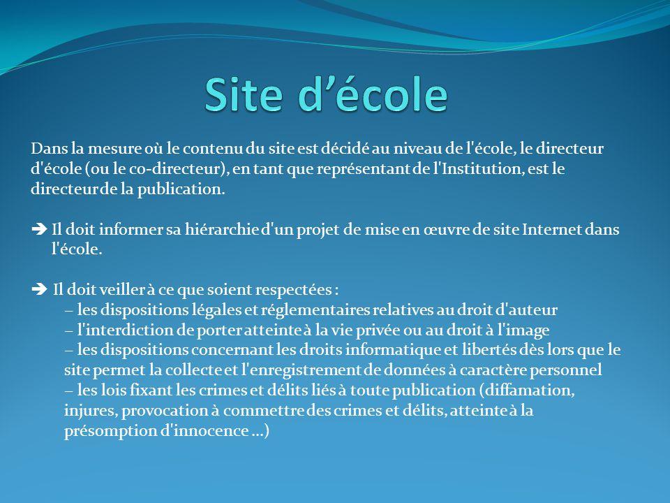 Dans la mesure où le contenu du site est décidé au niveau de l'école, le directeur d'école (ou le co-directeur), en tant que représentant de l'Institu