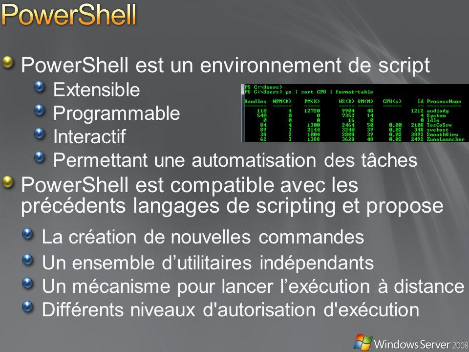 PowerShell est un environnement de script Extensible Programmable Interactif Permettant une automatisation des tâches PowerShell est compatible avec les précédents langages de scripting et propose La création de nouvelles commandes Un ensemble dutilitaires indépendants Un mécanisme pour lancer lexécution à distance Différents niveaux d autorisation d exécution