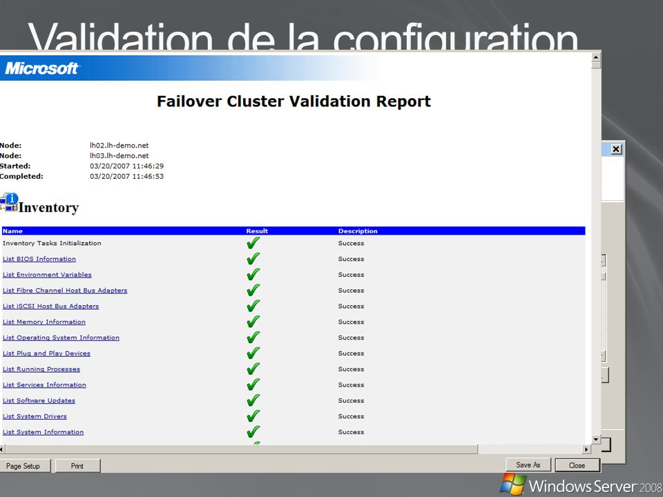 Validation de la configuration