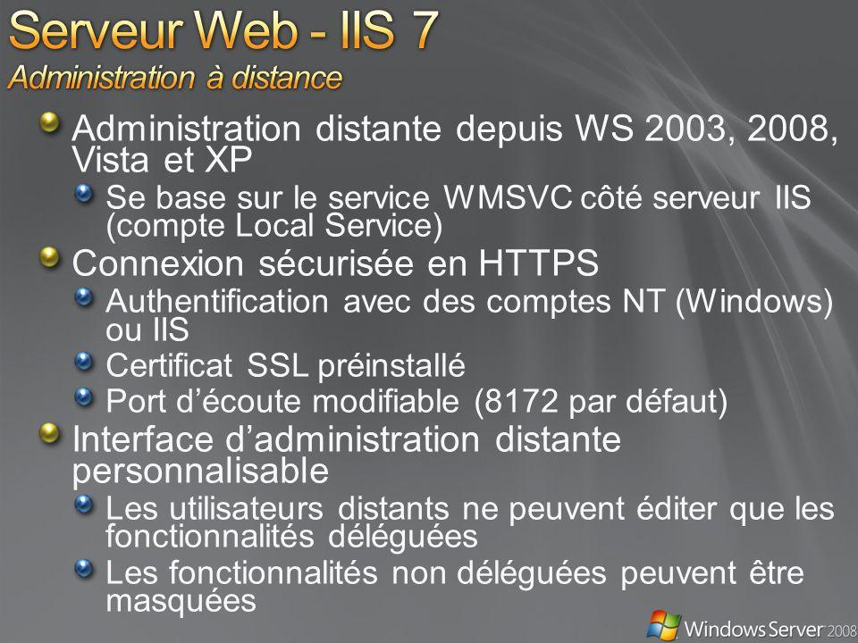 Administration distante depuis WS 2003, 2008, Vista et XP Se base sur le service WMSVC côté serveur IIS (compte Local Service) Connexion sécurisée en HTTPS Authentification avec des comptes NT (Windows) ou IIS Certificat SSL préinstallé Port découte modifiable (8172 par défaut) Interface dadministration distante personnalisable Les utilisateurs distants ne peuvent éditer que les fonctionnalités déléguées Les fonctionnalités non déléguées peuvent être masquées