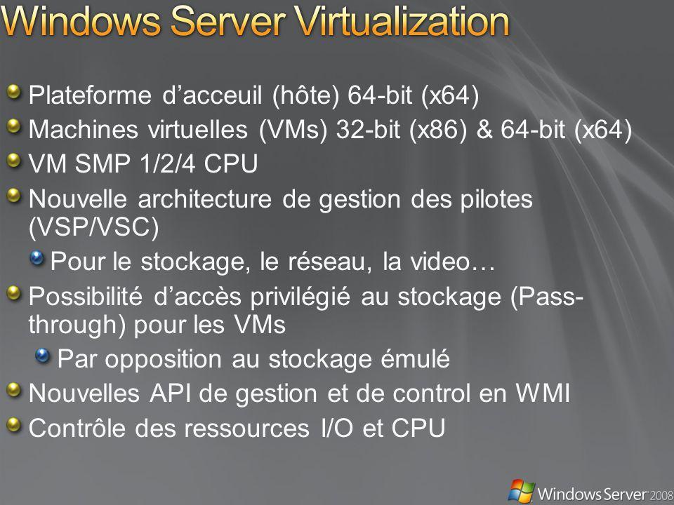 Plateforme dacceuil (hôte) 64-bit (x64) Machines virtuelles (VMs) 32-bit (x86) & 64-bit (x64) VM SMP 1/2/4 CPU Nouvelle architecture de gestion des pilotes (VSP/VSC) Pour le stockage, le réseau, la video… Possibilité daccès privilégié au stockage (Pass- through) pour les VMs Par opposition au stockage émulé Nouvelles API de gestion et de control en WMI Contrôle des ressources I/O et CPU