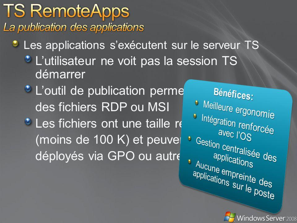 Les applications sexécutent sur le serveur TS Lutilisateur ne voit pas la session TS démarrer Loutil de publication permet de créer des fichiers RDP ou MSI Les fichiers ont une taille réduite (moins de 100 K) et peuvent être déployés via GPO ou autre solution