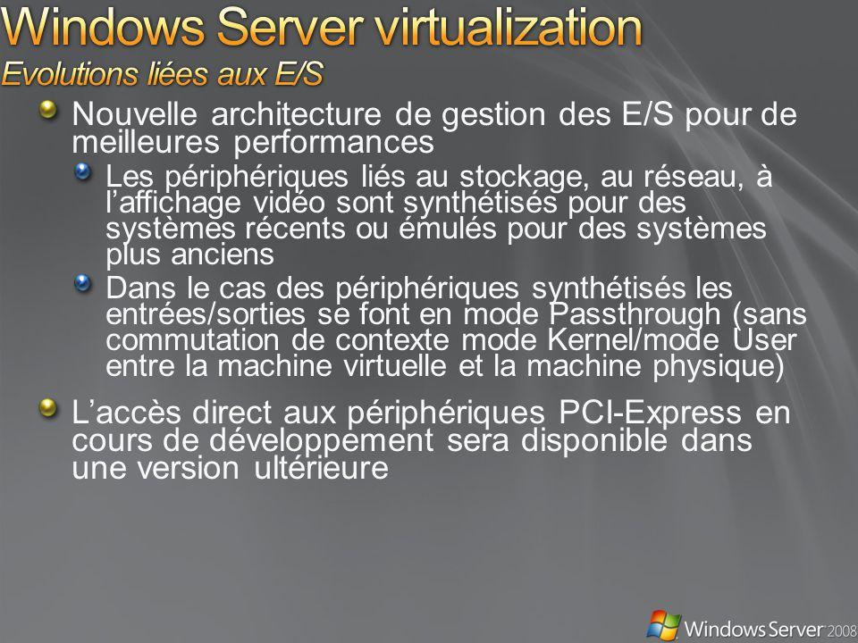 Nouvelle architecture de gestion des E/S pour de meilleures performances Les périphériques liés au stockage, au réseau, à laffichage vidéo sont synthétisés pour des systèmes récents ou émulés pour des systèmes plus anciens Dans le cas des périphériques synthétisés les entrées/sorties se font en mode Passthrough (sans commutation de contexte mode Kernel/mode User entre la machine virtuelle et la machine physique) Laccès direct aux périphériques PCI-Express en cours de développement sera disponible dans une version ultérieure