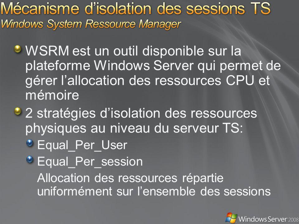 WSRM est un outil disponible sur la plateforme Windows Server qui permet de gérer lallocation des ressources CPU et mémoire 2 stratégies disolation des ressources physiques au niveau du serveur TS: Equal_Per_User Equal_Per_session Allocation des ressources répartie uniformément sur lensemble des sessions