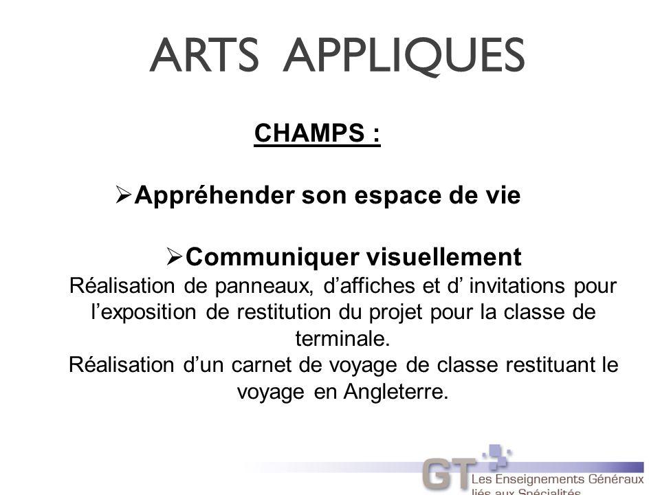 ARTS APPLIQUES CHAMPS : Appréhender son espace de vie Communiquer visuellement Réalisation de panneaux, daffiches et d invitations pour lexposition de restitution du projet pour la classe de terminale.