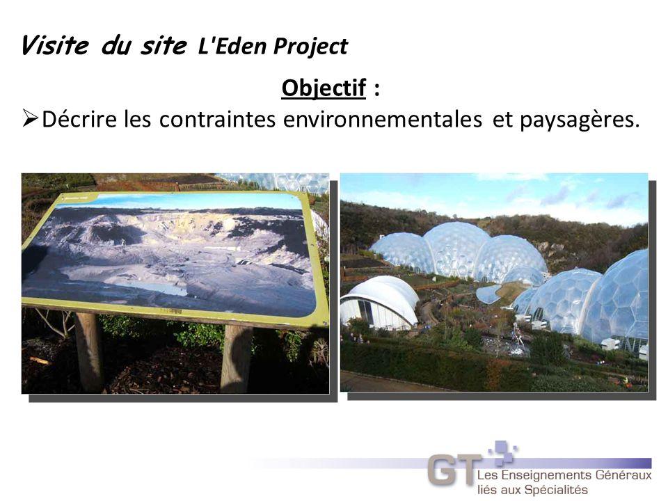 Objectif : Décrire les contraintes environnementales et paysagères. Visite du site L Eden Project