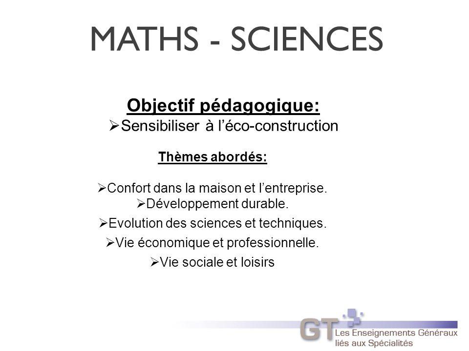MATHS - SCIENCES Objectif pédagogique: Sensibiliser à léco-construction Thèmes abordés: Confort dans la maison et lentreprise.