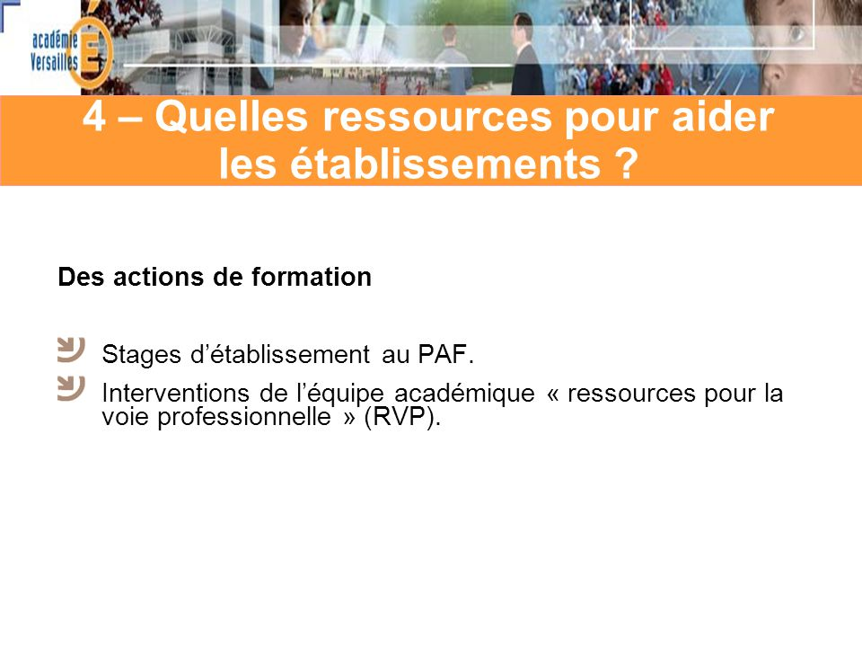 4 – Quelles ressources pour aider les établissements ? Des actions de formation Stages détablissement au PAF. Interventions de léquipe académique « re