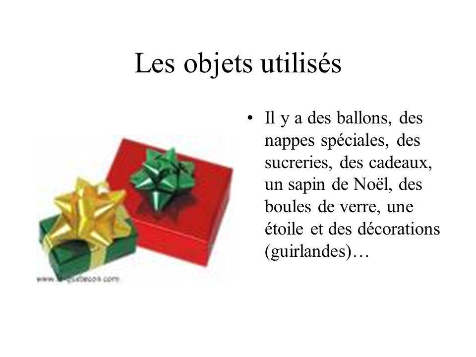 Les objets utilisés Il y a des ballons, des nappes spéciales, des sucreries, des cadeaux, un sapin de Noël, des boules de verre, une étoile et des décorations (guirlandes)…