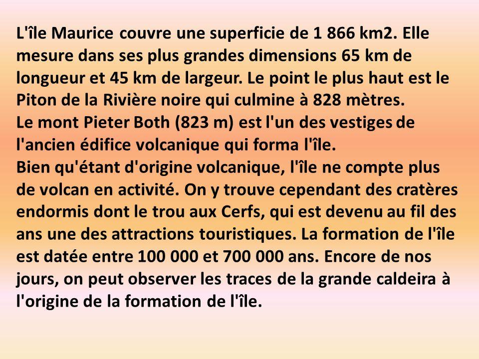 L île Maurice couvre une superficie de 1 866 km2.