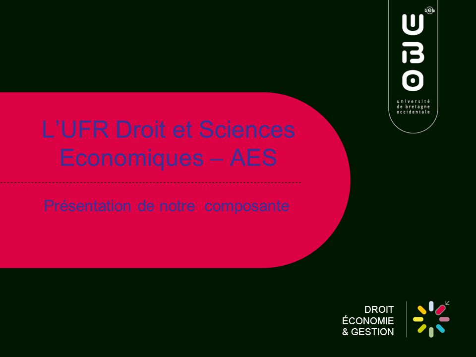 DROIT ÉCONOMIE & GESTION LUFR Droit et Sciences Economiques – AES Présentation de notre composante