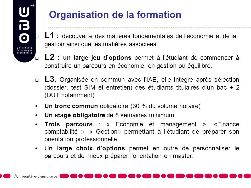 L1 : découverte des matières fondamentales de léconomie et de la gestion ainsi que les matières associées. L2 : un large jeu doptions permet à létudia