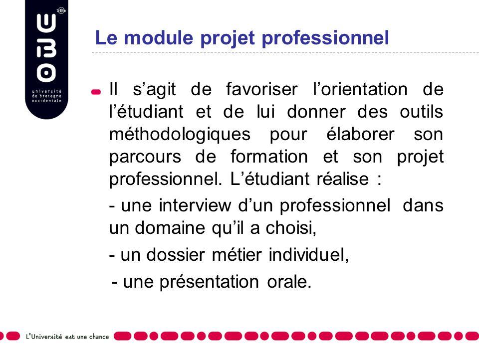 Le module projet professionnel Il sagit de favoriser lorientation de létudiant et de lui donner des outils méthodologiques pour élaborer son parcours