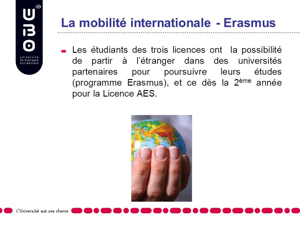 La mobilité internationale - Erasmus Les étudiants des trois licences ont la possibilité de partir à létranger dans des universités partenaires pour p