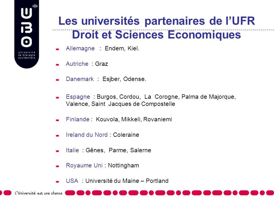 Les universités partenaires de lUFR Droit et Sciences Economiques Allemagne : Endem, Kiel. Autriche : Graz Danemark : Esjber, Odense. Espagne : Burgos