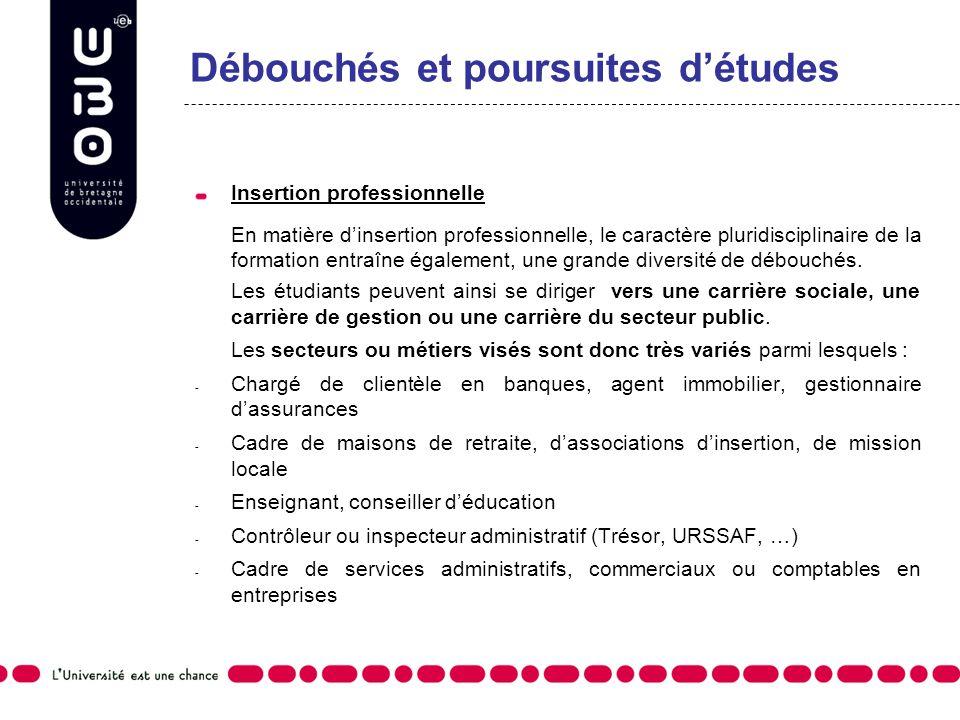 Débouchés et poursuites détudes Insertion professionnelle En matière dinsertion professionnelle, le caractère pluridisciplinaire de la formation entra