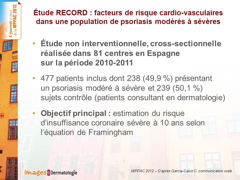 Étude RECORD : facteurs de risque cardio-vasculaires dans une population de psoriasis modérés à sévères Étude non interventionnelle, cross-sectionnelle réalisée dans 81 centres en Espagne sur la période 2010-2011 477 patients inclus dont 238 (49,9 %) présentant un psoriasis modéré à sévère et 239 (50,1 %) sujets contrôle (patients consultant en dermatologie) Objectif principal : estimation du risque dinsuffisance coronaire sévère à 10 ans selon léquation de Framingham WPPAC 2012 – Daprès Garcia-Calvo C, communication orale