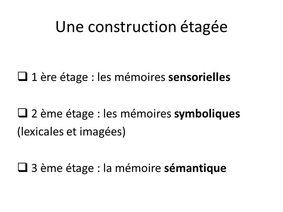 Une construction étagée 1 ère étage : les mémoires sensorielles 2 ème étage : les mémoires symboliques (lexicales et imagées) 3 ème étage : la mémoire sémantique