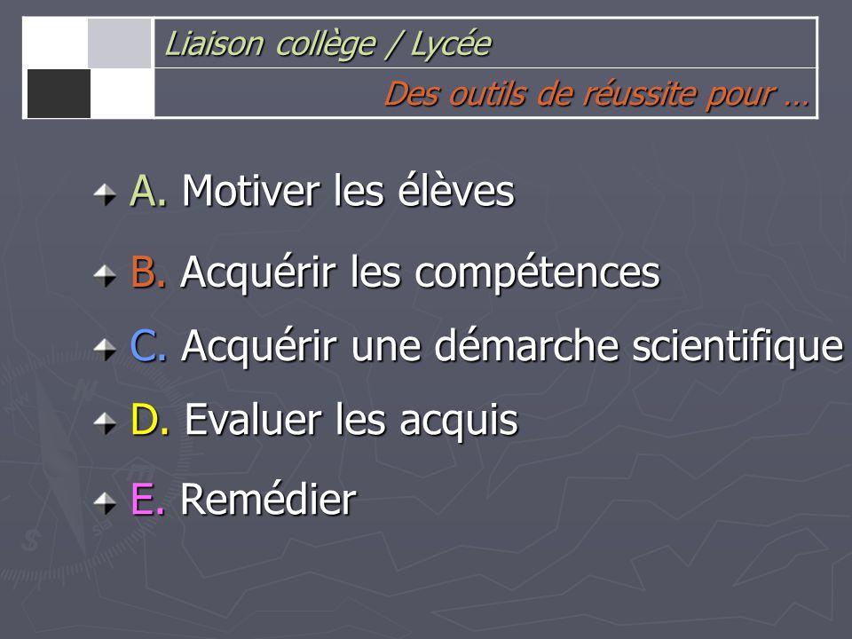 A. Motiver les élèves B. Acquérir les compétences C.