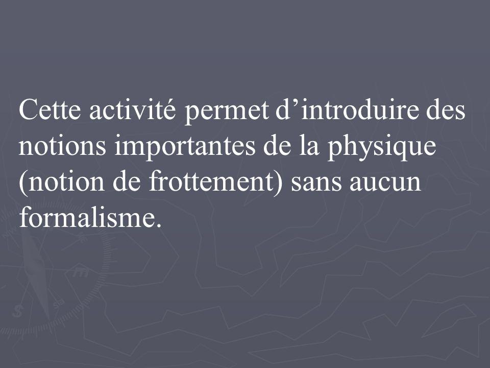 Cette activité permet dintroduire des notions importantes de la physique (notion de frottement) sans aucun formalisme.
