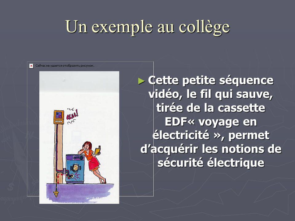 Un exemple au collège Cette petite séquence vidéo, le fil qui sauve, tirée de la cassette EDF« voyage en électricité », permet dacquérir les notions de sécurité électrique