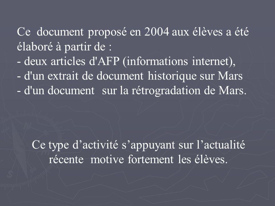 Ce document proposé en 2004 aux élèves a été élaboré à partir de : - deux articles d AFP (informations internet), - d un extrait de document historique sur Mars - d un document sur la rétrogradation de Mars.