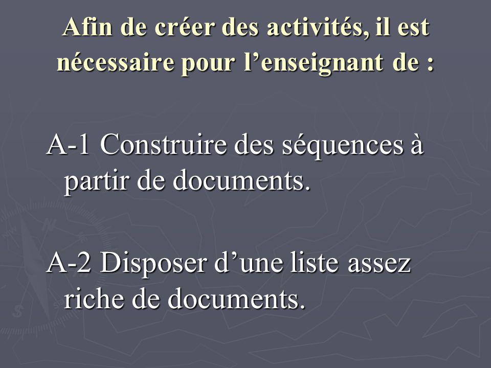 Afin de créer des activités, il est nécessaire pour lenseignant de : A-1 Construire des séquences à partir de documents.
