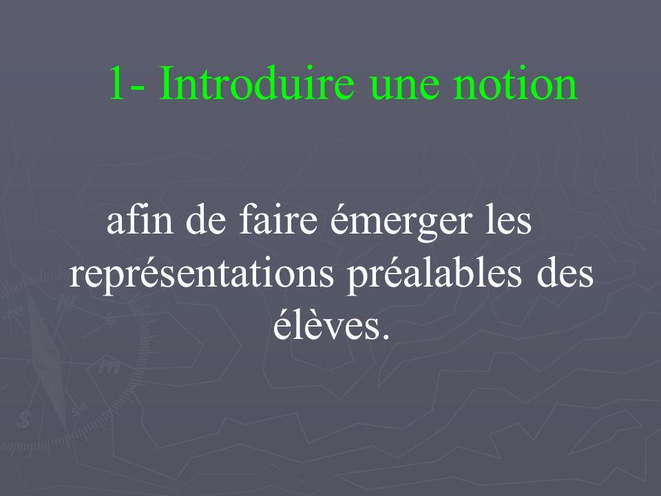 1- Introduire une notion afin de faire émerger les représentations préalables des élèves.