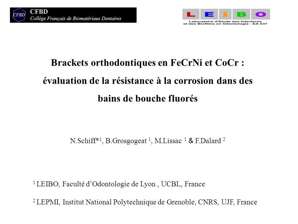 Brackets orthodontiques en FeCrNi et CoCr : évaluation de la résistance à la corrosion dans des bains de bouche fluorés N.Schiff* 1, B.Grosgogeat 1, M