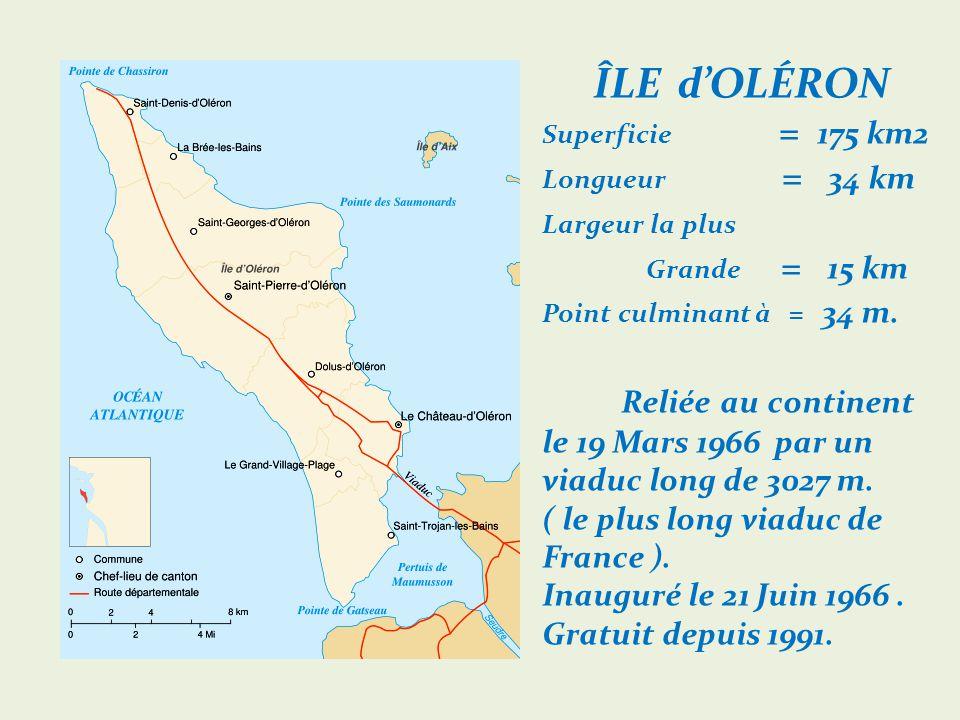 ÎLE dOLÉRON Superficie = 175 km2 Longueur = 34 km Largeur la plus.
