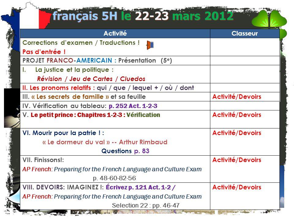 français 5H Le 22-23 mars 2012
