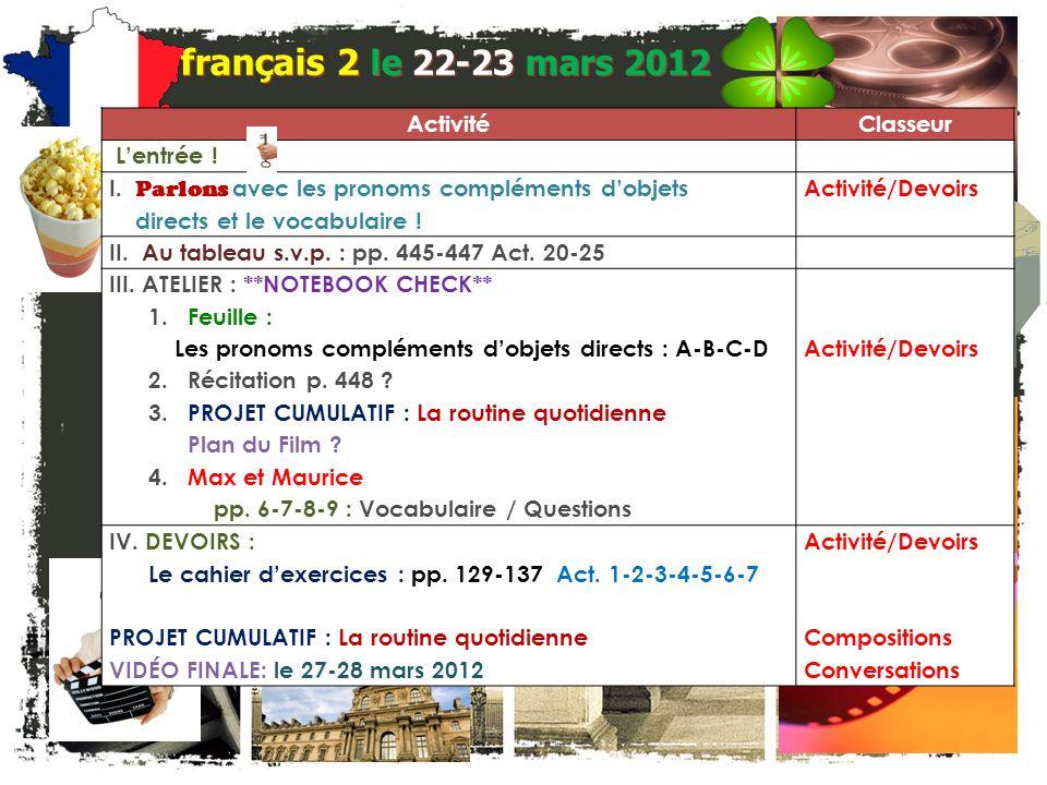 français 2 Le 22-23 mars 2012