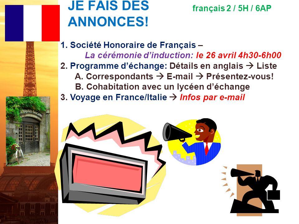 français 2 le 22-23 mars 2012 ActivitéClasseur Lentrée ! I. Parlons avec les pronoms compléments dobjets directs et le vocabulaire ! Activité/Devoirs